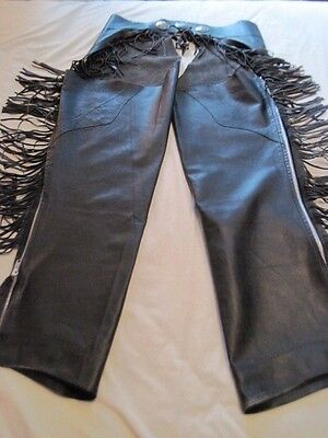Ladies size L black leather lined & fringed motorcycle chaps