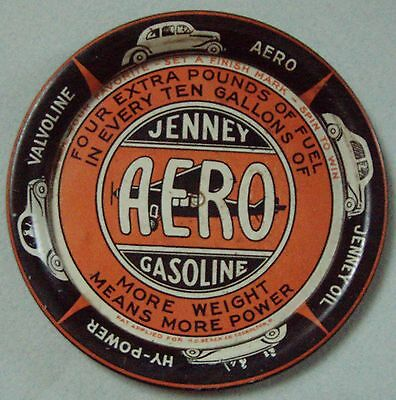 Real Nice Jenny Aero Gasoline Spinning Tin Advertisingtip Tray Great Graphics