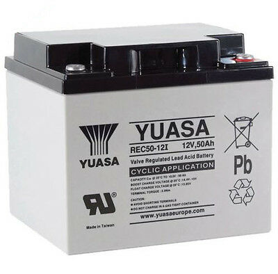 Yuasa 50Ah Golf Trolley / Mobility Scooter Battery, Replaces 45Ah - REC50-12I
