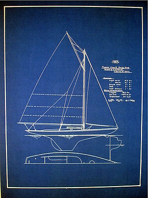 "Vintage Racing Sailboat 20 ft Sloop 1905 Blueprint Plan 14"" x 18""   (133)"