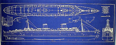 RMS Queen Elizabeth Cunard Line 1940 Blueprint Plan display 16x39 (280)