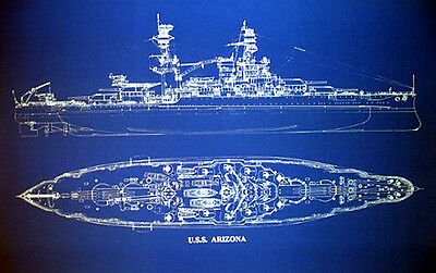 "Battleship USS Arizona Print WW2 Pearl Harbor Blueprint Plan 20""x24""   (003)"