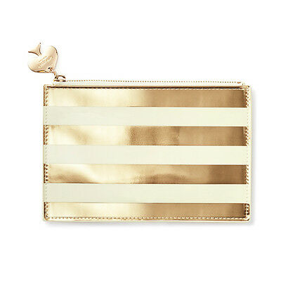 "KATE SPADE - Pencil Pouch -  Set - ""Gold Stripe"" - Six Pieces Included!"