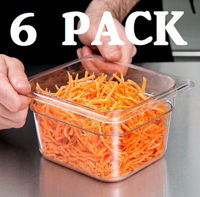 """6 PACK 1/6 Size Clear Plastic Steam Prep Table Food Pan 4"""" Deep Polycarbonate"""