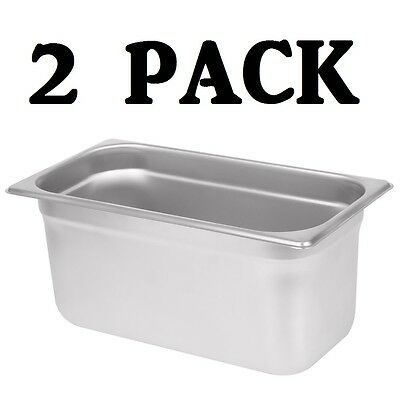 "2 PACK 1/3 Size Stainless Steel Steam Prep Table Commercial Food Pan 6"" Deep"