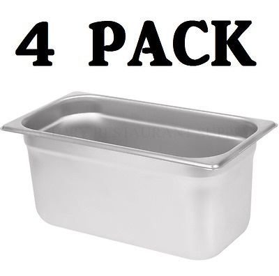 "4 PACK 1/3 Size Stainless Steel Steam Prep Table Pan 12 3/4"" x 7"" x 6"" Deep NEW"