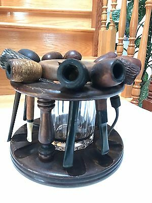 Vintage Tobacco Pipe Stand With 10 Different  Pipes