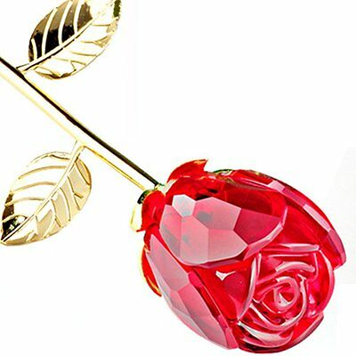 Romantic Long Stem Crystal Pink Rose Gold Leave Flower Valentine Gift Weddinguk