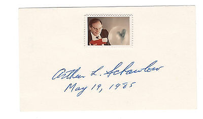 Arthur Schawlow signed card / Physics Nobel autographed