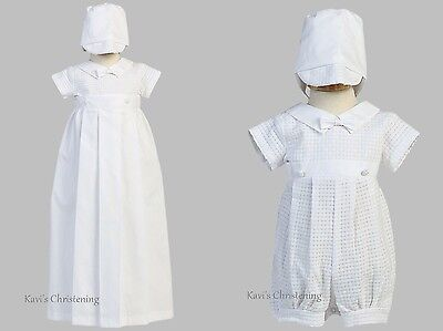 Baby Boys White Christening Gown & Romper Convertible Detachable Gown Size 0-18M