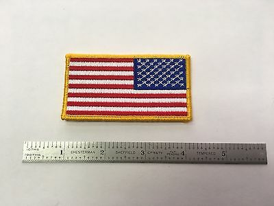 NEW! USA Reverse AMERICAN FLAG Gold Border PATCH, HIGH QUALITY single patch