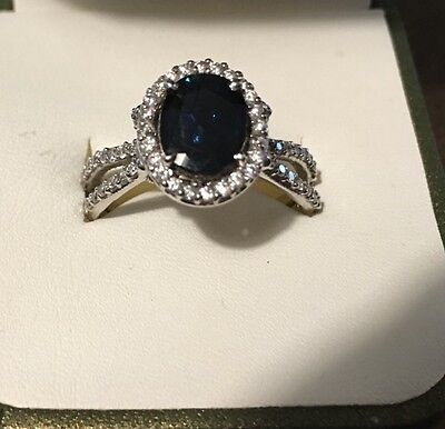 3.11 CTW Natural Sapphire & Diamond Ladies Ring in 14 K White Gold, Size 10 US