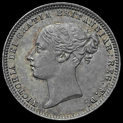 1873 Queen Victoria Young Head Silver Sixpence, Scarce, UNC