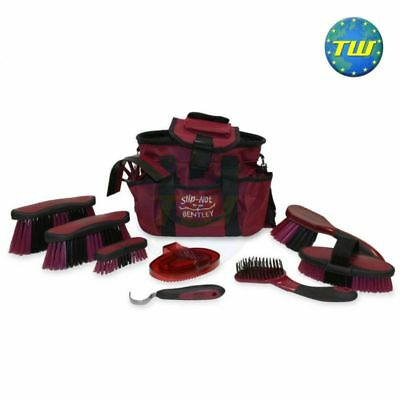 Bentley Burgundy Equestrian Antibacterial Deluxe Horse Grooming Brush & Bag Kit