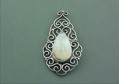 Arts & Crafts Large English Silver Openwork & Mop Brooch