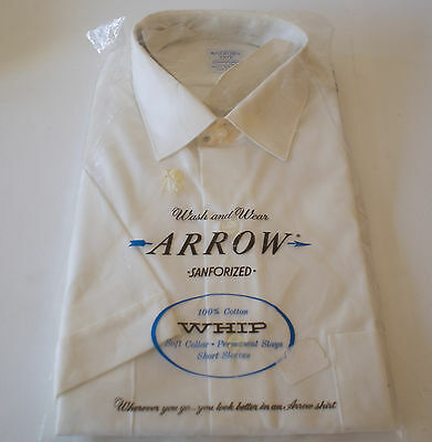 NOS Vtg 1950s ARROW White Sanforized 100% Cotton Short Sleeve Shirt Medium 15