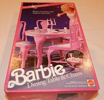 Vintage BARBIE Dining Table & Chairs - Pink Sparkles - 1990 - NEW - RARE
