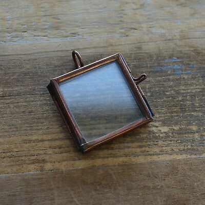 Small Bronze Square Double Sided Glass Frame Locket Pendant Charm Vintage Style