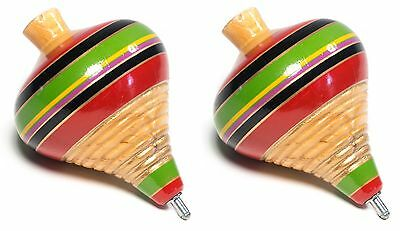 (2 Pack) MexIcan Classic Wooden Spininng Trompo / Trompo de Madera