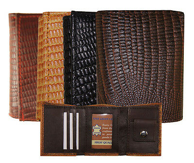"Kids Gift Leather Snake Lizard imprint Trifold Mini Wallet 3""x2.5"""