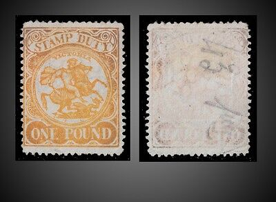 1884 Victoria Postal Fiscal Stamp Duty - One Pound Orange Perf 12.1/2 St. Ar20