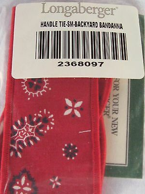 Longaberger Basket ~SMALL HANDLE TIE~Red Backyard Bandanna Fabric~Retired~NIP