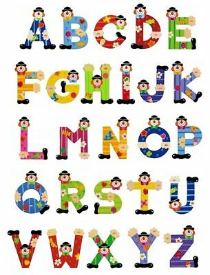 SEVI WOODEN CLOWN LETTERS - 10cm Height - Ideal for your baby's room door
