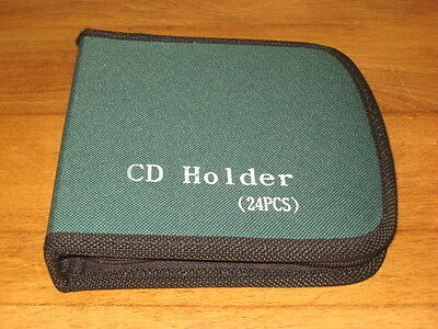 New 24 Ct Hard Sided Cd Wallet Holder – Green W/ Black & Zipper