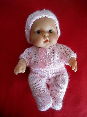 """Doll Clothes Pink Vintage Style knitted Easter Set fit Kewpie 8in. Berenguer 8"""""""
