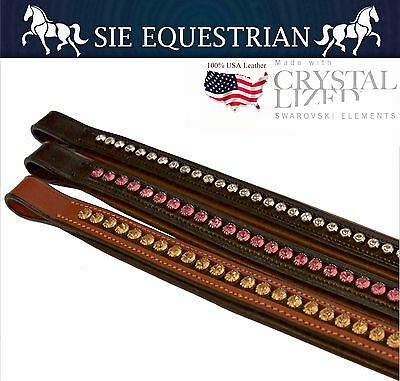 New USA Leather, Swarovski Lined Full Size Leather Browbands for Bridles - SIE