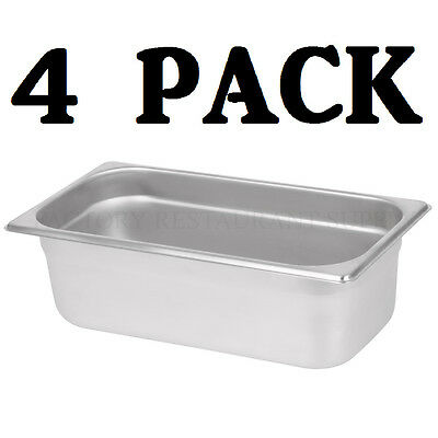 "4 PACK 1/3 Size Stainless Steel Steam Prep Table Pan 12 3/4"" x 7"" x 4"" Deep NEW"