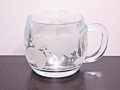 Nestle Nescafe Frosted Etched World Globe Glass Coffee Cup Mug