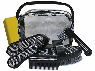 New Showman™ Bling Zebra 6 Piece Grooming Kit With a Carrying Case Horse Tack