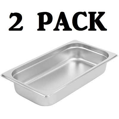 "2 PACK 1/3 Size Stainless Steel Steam Prep Table Pan 12 3/4"" x 7"" x 2 1/2"" Deep"