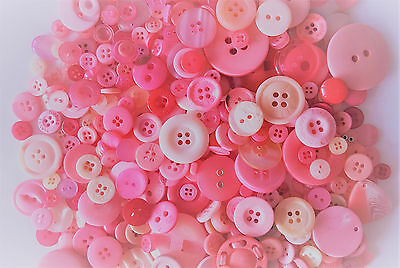 FAST SHIPPING~ 30 Assorted Design Pink Buttons Mix Sewing Scrapbooking Craft