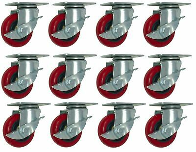 "12 Pack 3"" Caster Wheels with Brake Lock 300lbs Swivel Rigid Polyurethane Plate"