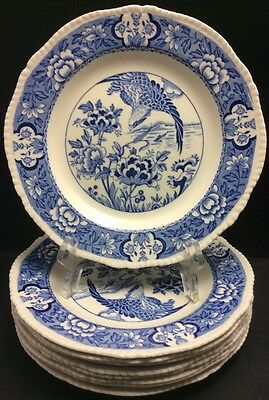 "Wood & Sons Woods Ware Aquila Blue Bird Dinner / Salad Plate(S) 9"" England"