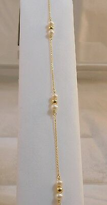 "9"" to 10"" adjustable cable chain oval white pearls 14K Gold Bracelet JA0021"