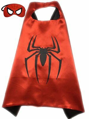 Superhero or Princess CAPE & MASK SET Childrens Halloween Costume (Red & Black (