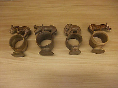 carved wood napkin rings set of 4 african animals