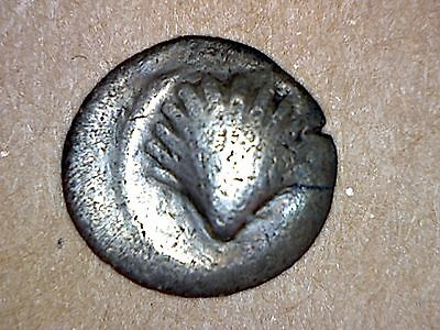 Tarentum Calabria Litra coin 4th Century BC scallop shell / head of nymph,0.8 g