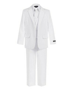 White - Boys Suit (Sizes 2T-20) Slimmer Fit Kids Formal Occasion Wear Communion