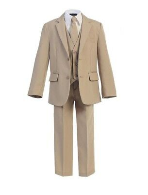 Khaki/Beige - New Boys Suits, Slimmer Fit, Kids Formal Occasion Wear, 2T - 20