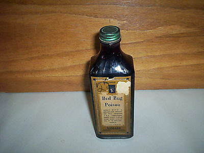 "Vintage Lymans 8oz Toronto Montral Bed Bug Poison Bottle : FULL & 7"" Tall"
