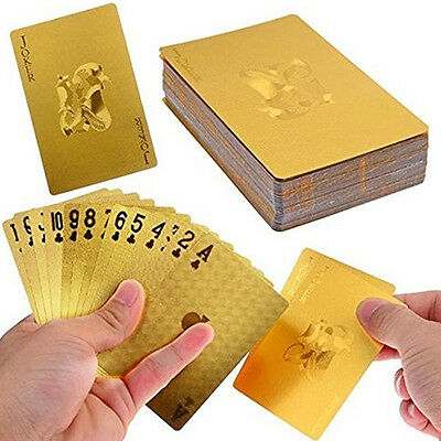 Super 24K Gold Foil Poker Ornate Lattice Grid Waterproof Playing Cards