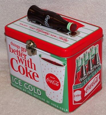 "Coca-Cola ""things Go Better With Coke"" Train Case / Lunch Box Tin - New!"