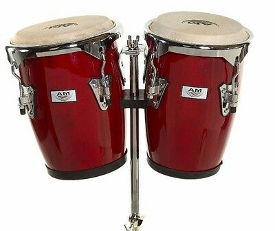 "NEW AM Percussion 9"" & 10"" Bongo Conga Combo Set with Stand - DARK RED REAL SKIN"