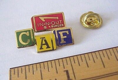 1987 In-N-Out  In N Out Burger CAF Gold tone metal & enamel Employee Lapel Pin