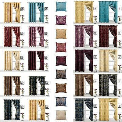 Pair Of Eyelet Ring Top Curtains Or Pencil Pleat Curtains With Matching Cushion