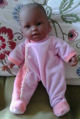 "Cute African American 11"" Berenguer Baby Doll, Soft Vinyl Body, in Pink Sleeper"